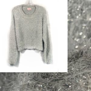 re:named Silver Tinsel Glitter Fuzzy Sweater